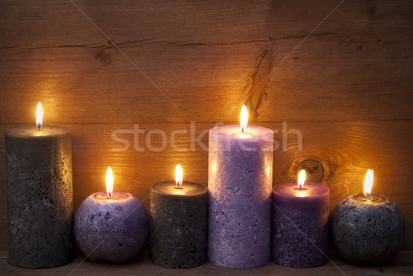 Christmas Decoration With Puprle And Black Candles  Stock photo © Nelosa
