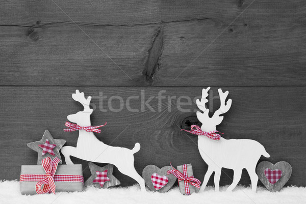 Gray Christmas Decoration, Reindeer Couple In Love Stock photo © Nelosa