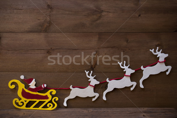 Santa Claus Sled, Reindeer, Christmas Decoration, Copy Space Stock photo © Nelosa