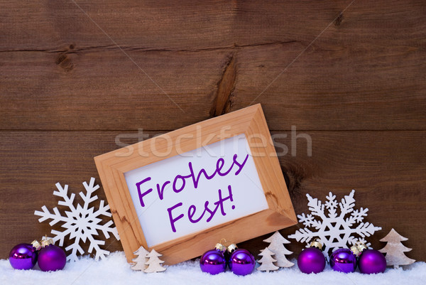 Purple Decoration, Snow, Frohes Fest Mean Merry Christmas Stock photo © Nelosa