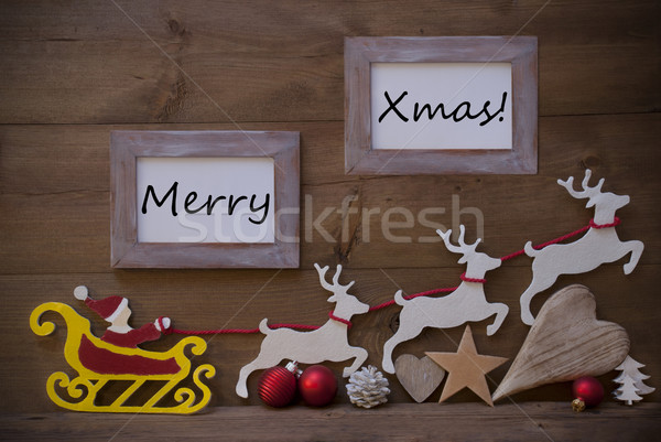 Santa Claus Sled And Reindeer, Frame With Merry Xmas Stock photo © Nelosa