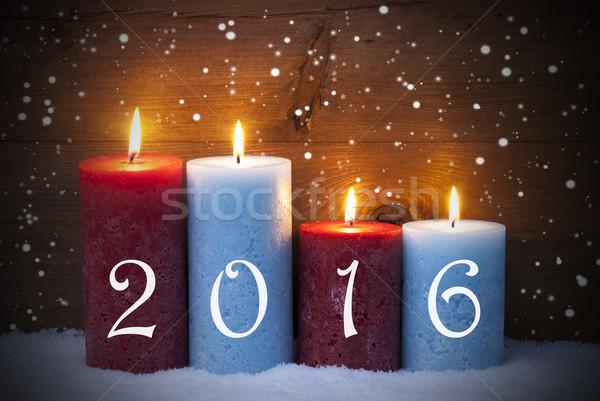 Quattro candele avvento 2016 fiocchi di neve Foto d'archivio © Nelosa