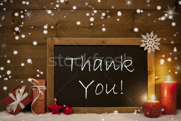 Christmas Card, Blackboard, Snowflakes, Candles, Thank You Stock photo © Nelosa