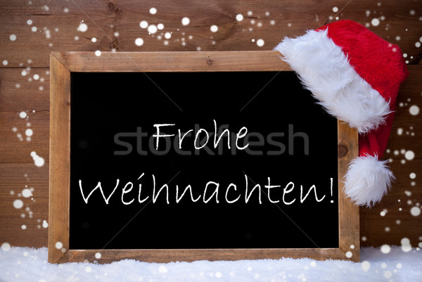 Card, Chalkboard, Frohe Weihnachten Mean Merry Christmas, Snow Stock photo © Nelosa