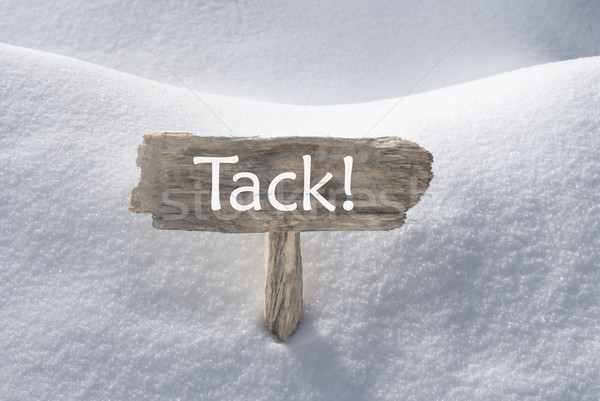 Christmas Sign With Snow Tack Means Thank You Stock photo © Nelosa