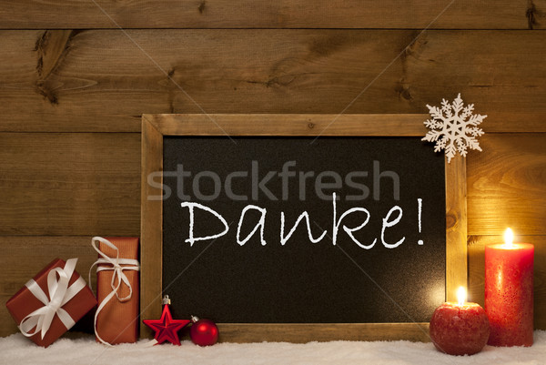 Festive Christmas Card, Blackboard, Snow, Danke Mean Thank You Stock photo © Nelosa