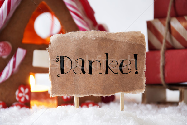 Gingerbread House With Sled, Danke Means Thank You Stock photo © Nelosa