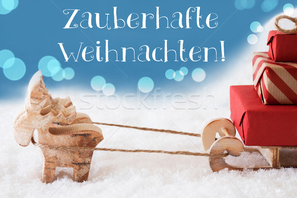 Reindeer, Sled, Light Blue Background, Weihnachten Means Magic Christmas Stock photo © Nelosa