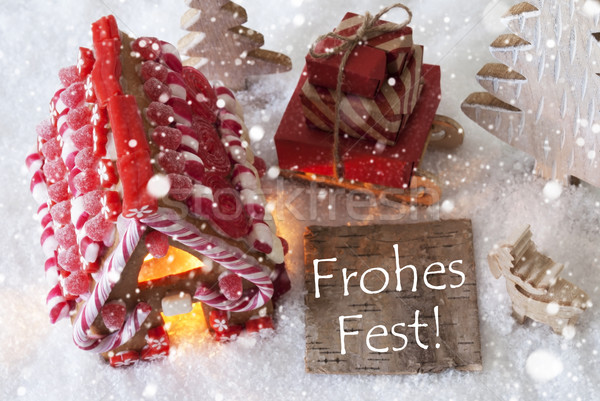 Gingerbread House, Sled, Snowflakes, Frohes Fest Means Merry Christmas Stock photo © Nelosa