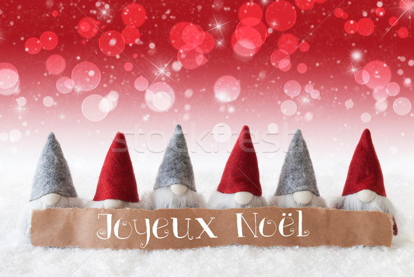 Gnomes, Red Background, Bokeh, Stars, Joyeux Noel Means Merry Christmas Stock photo © Nelosa