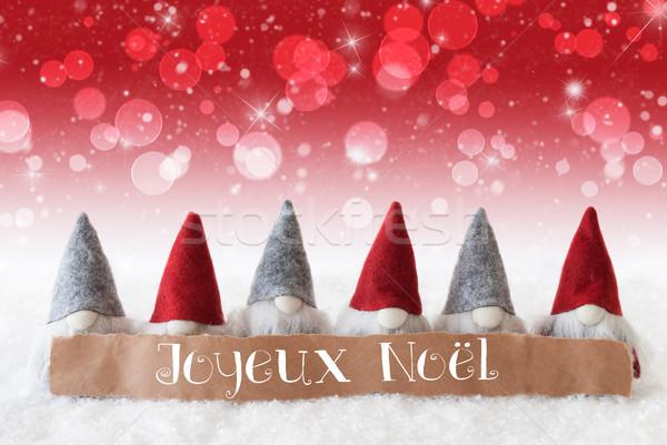 красный bokeh звезды веселый Рождества Label Сток-фото © Nelosa
