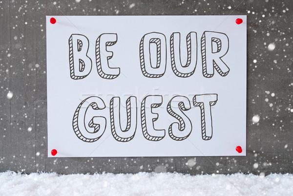 Label cement muur sneeuwvlokken tekst gast Stockfoto © Nelosa