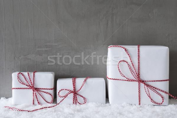Three White Gifts, Cement, Copy Space Stock photo © Nelosa