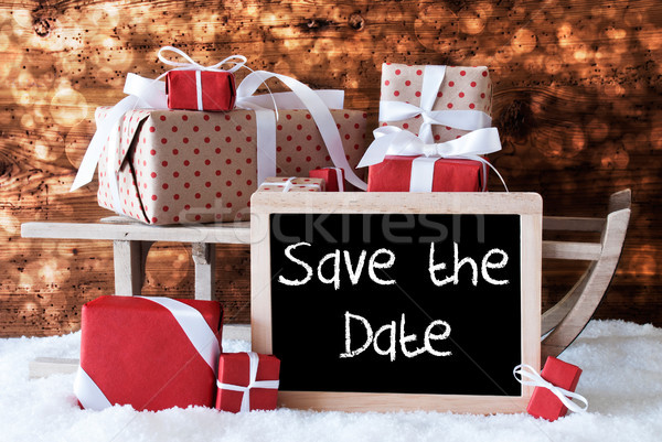Sleigh With Gifts, Snow, Bokeh, English Text Save The Date Stock photo © Nelosa