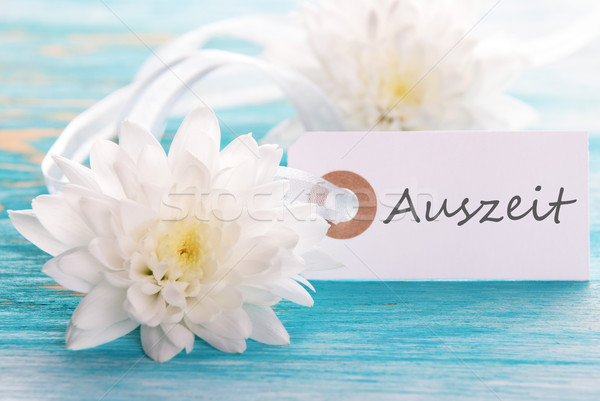 Tag woord witte bloesems bloemen hout Stockfoto © Nelosa