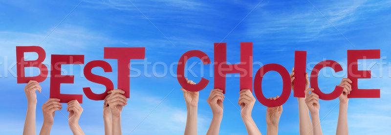 Kezek tart legjobb választás égbolt sok piros Stock fotó © Nelosa