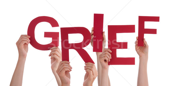 Many People Hands Holding Red Word Grief Stock photo © Nelosa