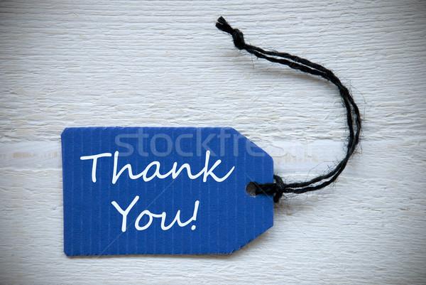 Kék címke angol szöveg köszönjük címke Stock fotó © Nelosa