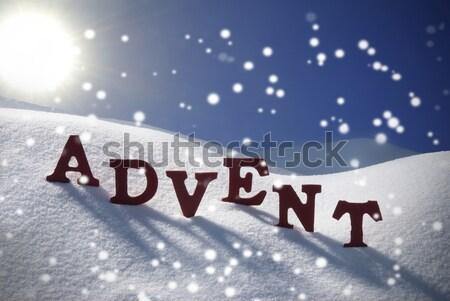 Advent Mean Christmas Time Snow Santa Hat Blue Sky Stock photo © Nelosa