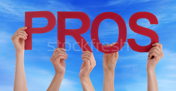 Many People Hands Holding Red Straight Word Pros Blue Sky Stock photo © Nelosa