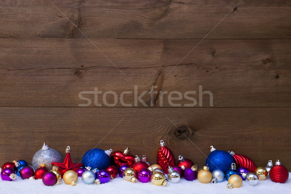Colorful Christmas Balls As Decoration On Snow Stock photo © Nelosa