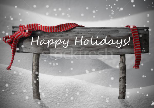 Stock photo: Gray Christmas Sign Happy Holidays, Snow, Red Ribbon, Snowflakes