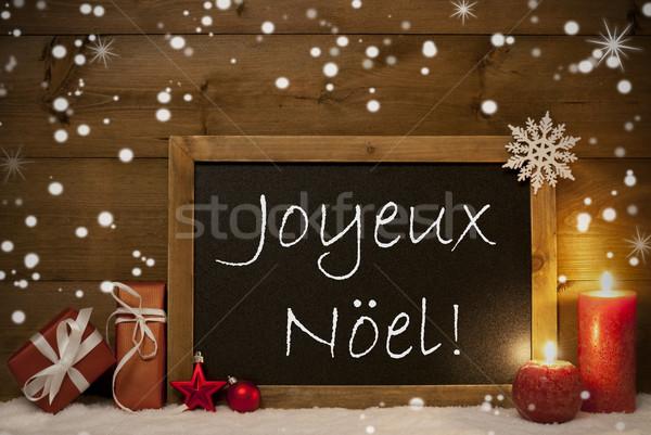Card, Blackboard, Snowflakes, Joyeux Noel Mean Merry Christmas Stock photo © Nelosa