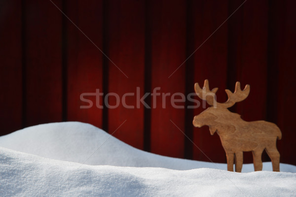 Karácsonyi üdvözlet fehér hó copy space jávorszarvas hirdetés Stock fotó © Nelosa