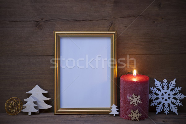 Frame With Candlelight And Christmas Decoration, Copy Space Stock photo © Nelosa