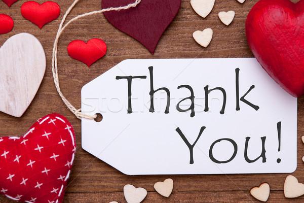 Egy címke piros szívek köszönjük makró Stock fotó © Nelosa
