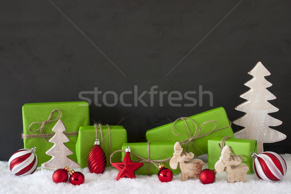 Red And Green Christmas Decoration, Black Cement Wall, Snow Stock photo © Nelosa