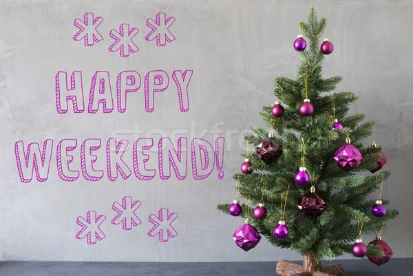 árvore de natal cimento parede texto feliz fim de semana Foto stock © Nelosa
