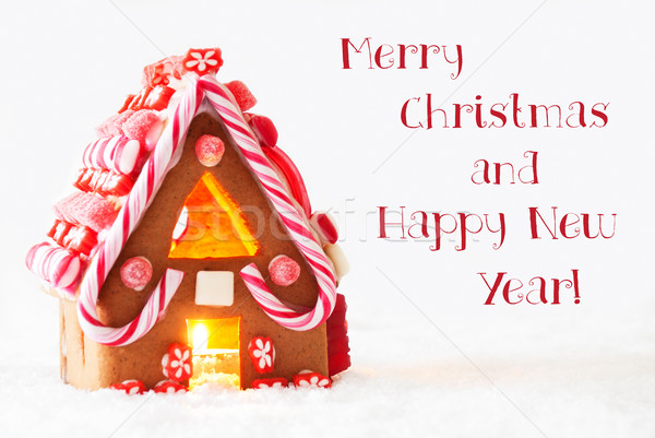 Gingerbread House, White Background, Merry Christmas Happy New Year Stock photo © Nelosa