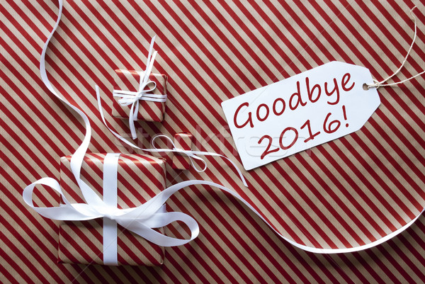 Two Gifts With Label, Text Goodbye 2016 Stock photo © Nelosa