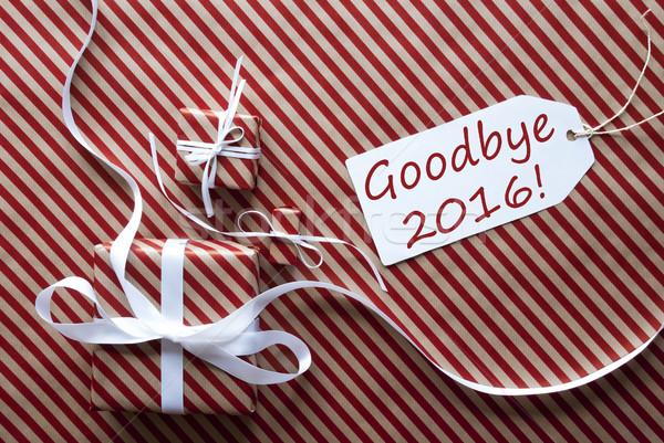 Kettő ajándékok címke szöveg viszlát 2016 Stock fotó © Nelosa