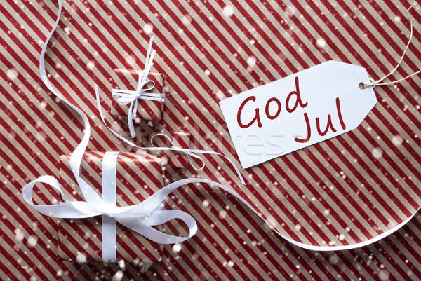 Regali etichetta fiocchi di neve dio allegro Natale Foto d'archivio © Nelosa