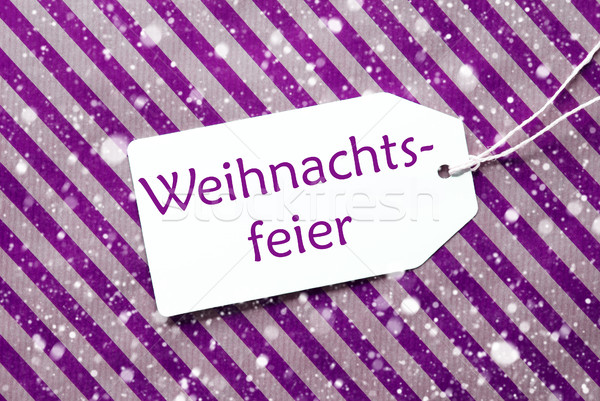 Label, Purple Wrapping Paper, Weihnachtsfeier Means Christmas Party, Snowflakes Stock photo © Nelosa