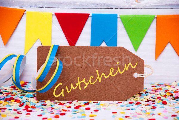 Party Label With Streamer, Text Gutschein Means Voucher Stock photo © Nelosa