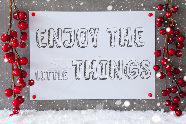 Label, Snowflakes, Christmas Decoration, Quote Enjoy The Little Things Stock photo © Nelosa