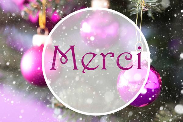 Rose Quartz Christmas Balls, Merci Means Thank You Stock photo © Nelosa