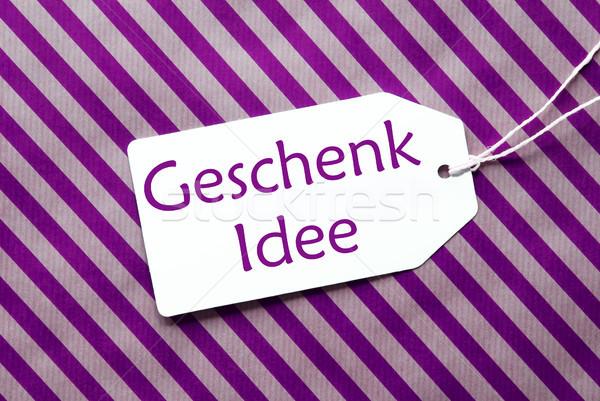 Etichetta viola carta da imballaggio regalo idea testo Foto d'archivio © Nelosa