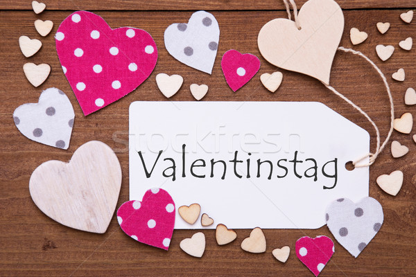 Label, Pink Hearts, Text Valentinstag Means Valentines Day Stock Photo ©  Nelosa