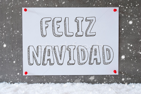 Label On Cement Wall, Snowflakes, Feliz Navidad Means Merry Christmas Stock photo © Nelosa