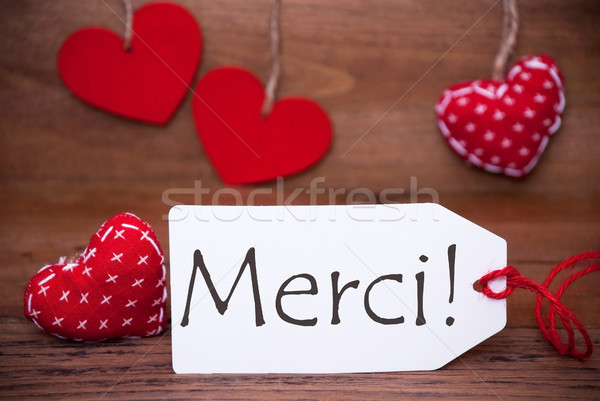 Olvas szívek címke köszönjük francia szöveg Stock fotó © Nelosa