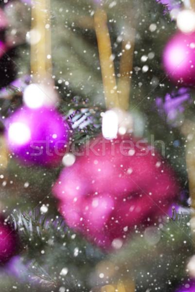 Vertical Blurry Christmas Tree With Rose Quartz Balls, Snowflakes Stock photo © Nelosa