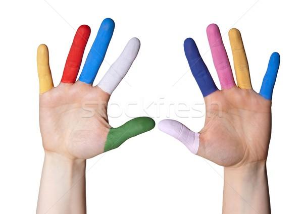 Strony malowany palce dwa ręce kolorowy Zdjęcia stock © Nelosa