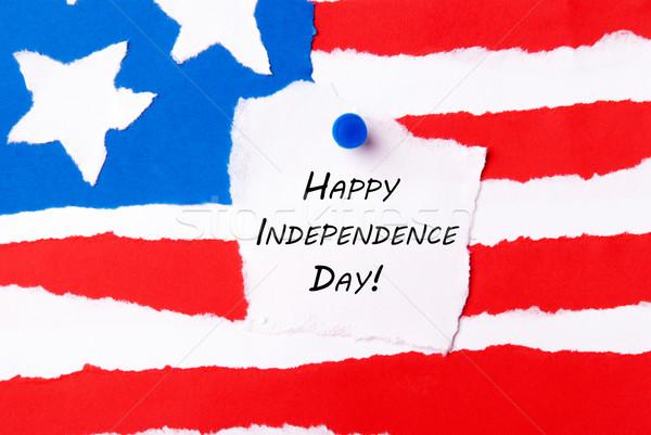 Amerikaanse vlag gelukkig dag papier teken Stockfoto © Nelosa