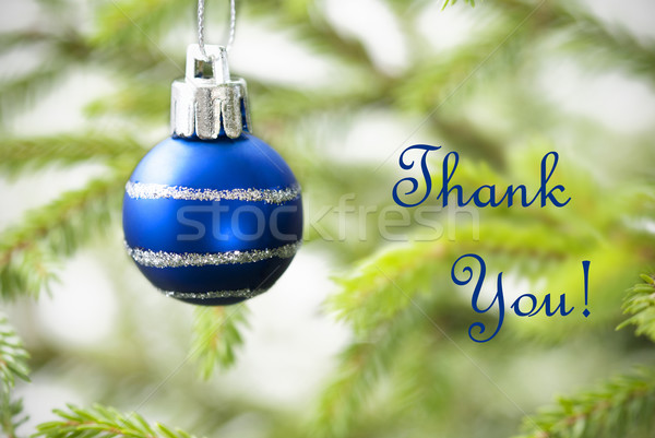 Blue Christmas Ball on Christmas Tree Branch with Thank You Text Stock photo © Nelosa