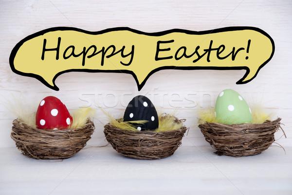 Három színes húsvéti tojások képregény szöveglufi kellemes húsvétot Stock fotó © Nelosa
