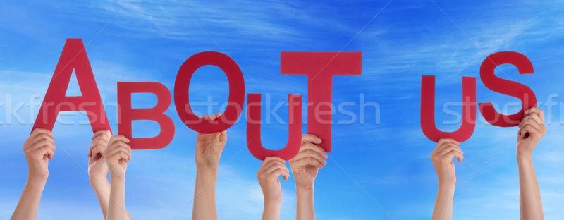 Mensen handen Rood woord over ons Stockfoto © Nelosa